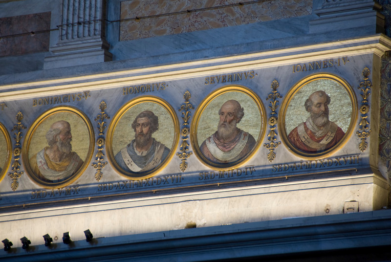The former popes on display inside St. Paul's Basilica in Rome, Italy