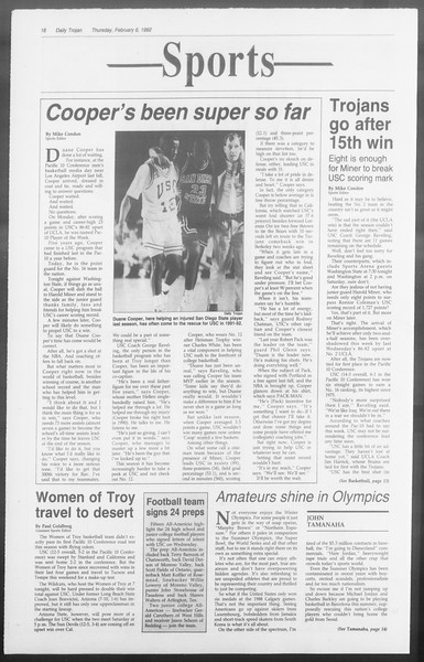 Daily Trojan, Vol. 117, No. 16, February 06, 1992