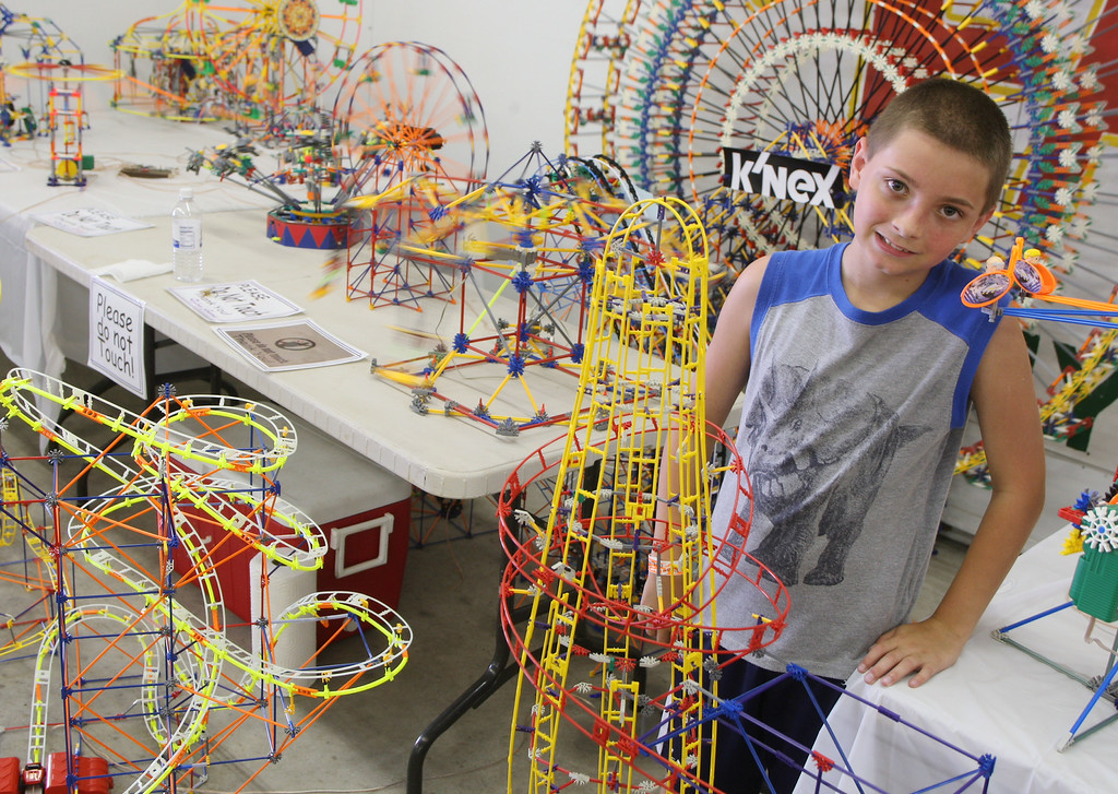 . Dylan Grems , 13 of Floyd poses with his K\'nex display     at the Boonville Oneida County Fair on Tuesday, July 22, 2014 in Boonville. the fair runs through Sunday, July 27, 2014.  JOHN HAEGER-ONEIDA DAILY DISPATCH @ONEIDAPHOTO ON TWITTER