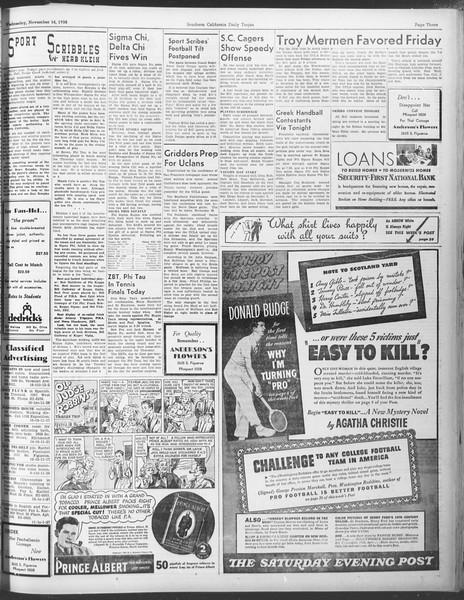 Daily Trojan, Vol. 30, No. 42, November 16, 1938
