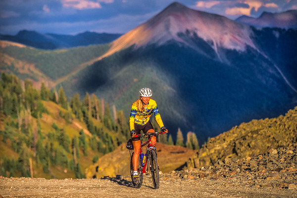 Alpine Loop, Colorado -- Cyclist at Ophir Pass