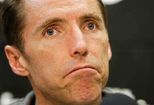 . Los Angeles Lakers guard Steve Nash talks to the media at their practice center in El Segundo, Calif., Monday, April 29, 2013. The Lakes lost in the first round of the playoffs to the San Antonio Spurs. (AP Photo/Chris Carlson)