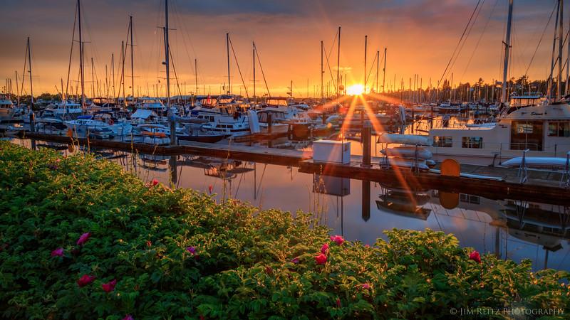 Sunset at Bellingham, Washington marina.