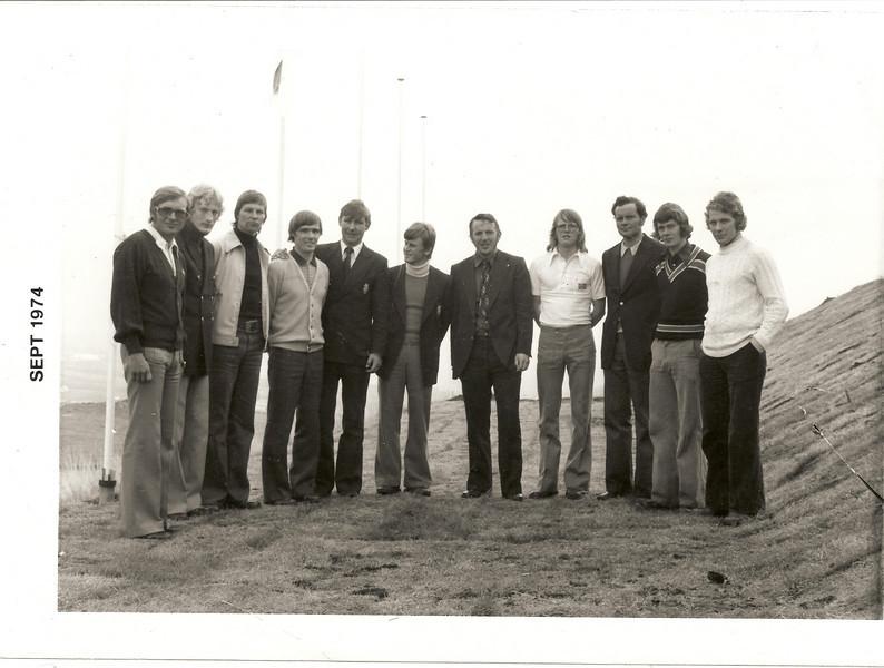 Landskeppni Ísland - Finnland 1974. Lið Íslands skipuðu: Einar Guðnason, Ragnar Ólafsson, Júlíus Júlíusson, Óskar Sæmundsson, Hans Óskar Isebarn.