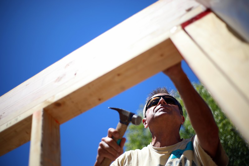 Habitat for Humanity volunteers build emergency housing