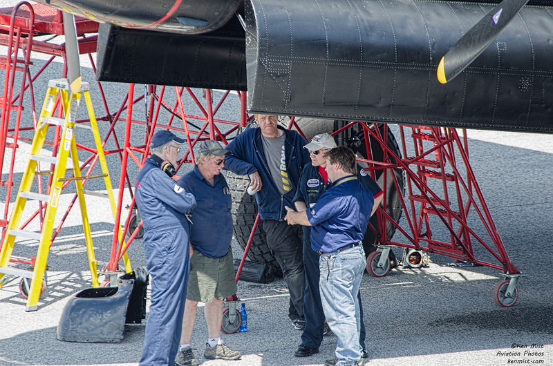 Bombs away!  Discussion beneath the Canadian Warplane Heritage Museum Lancaster.