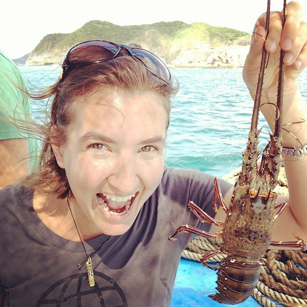 Someone is a little excited for fresh lobster ceviche #Nicaragua #yum #morgansrock