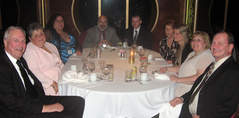 "At ""formal"" night:  left to right--Gary and Marlaina Lieberg, Valory Lawrence, me, Matthew Janusauskas, Roberta Emery, Jennie Emery, Barbara and Tom Janusauskas"
