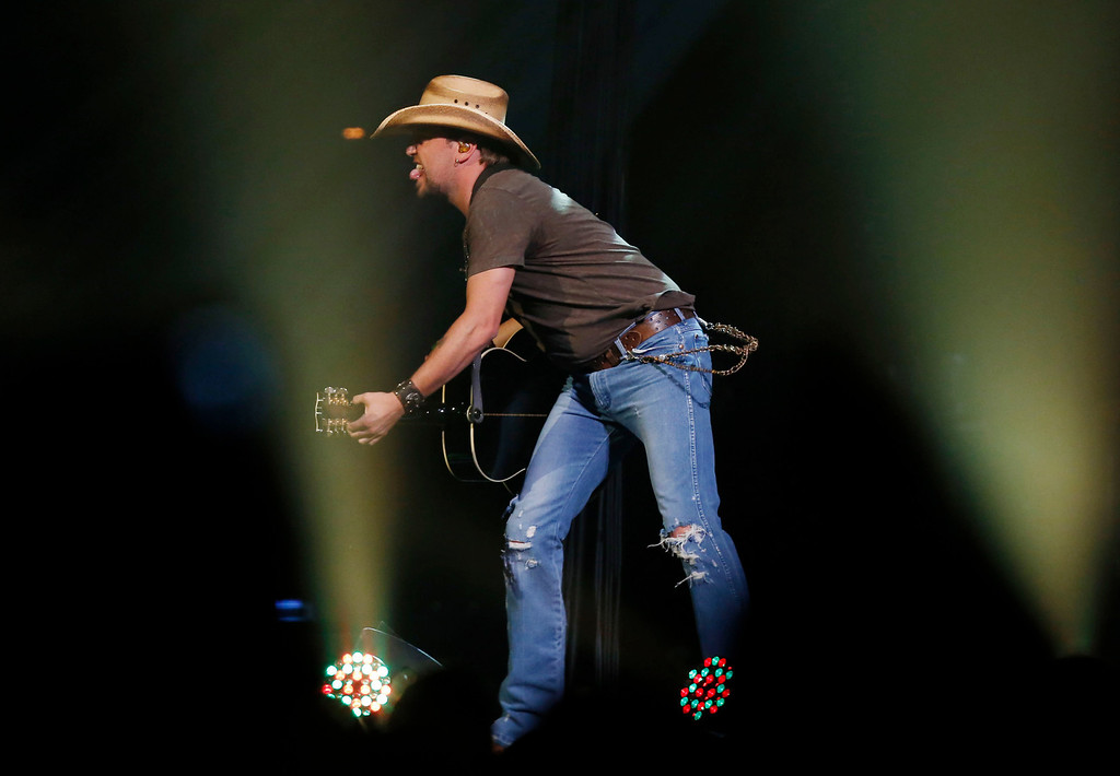 . Country superstar Jason Aldean performs at the Boston Strong Concert: An Evening of Support and Celebration at the TD Garden on Thursday, May 30, 2013 in Boston. (Photo by Bizuayehu Tesfaye/Invision/AP)