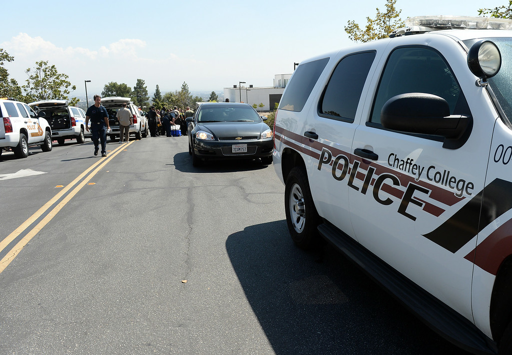 . The Chaffey College campus in Rancho Cucamonga was lockdown by campus police at approximately 1:15 p.m Thursday August 21, 2014 after a report was made about a maie with anti-goverment patches on his vest, wearing black combat boots, black pants and a black backpack. The threat was never confirmed and no one was taken into custody. The campus was under lockdown for over an hour before it was lifted. Classes have been cancelled for the rest of the day.  (Will Lester/Inland Valley Daily Bulletin)