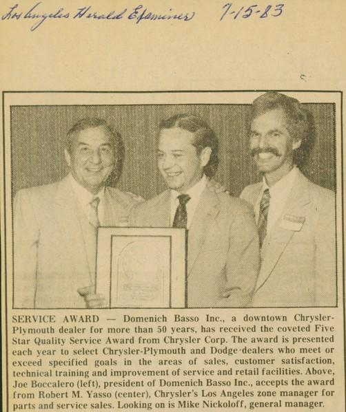 1983, Chrysler Service Award