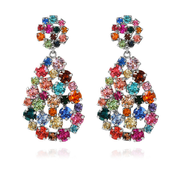 Hanna Earrings / Rainbow Combo Rhodium