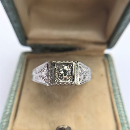 .60ct (est) Antique Old European Cut Diamond Engraved Man's Ring