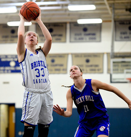 2/9/2019 Mike Orazzi | Staff Bristol Eastern's Jordan Ouellette (33) during Saturday's girls basketball game with Rocky Hill in Bristol.