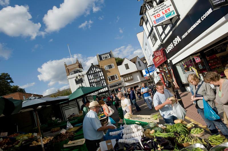 Stalls on Market Place, Kingstone upon Thames, Surrey, United Kingdom