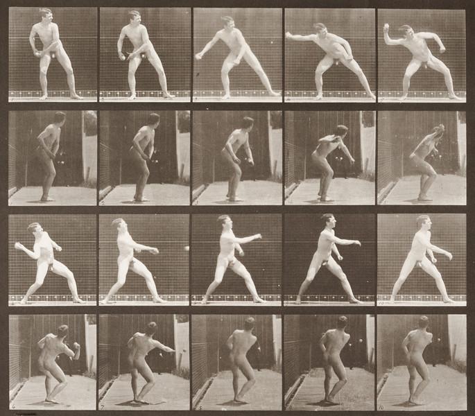 Nude man playing baseball, pitching (Animal Locomotion, 1887, plate 273)