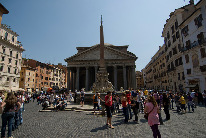 Street scene outside the Pantheon in Rome, Italy