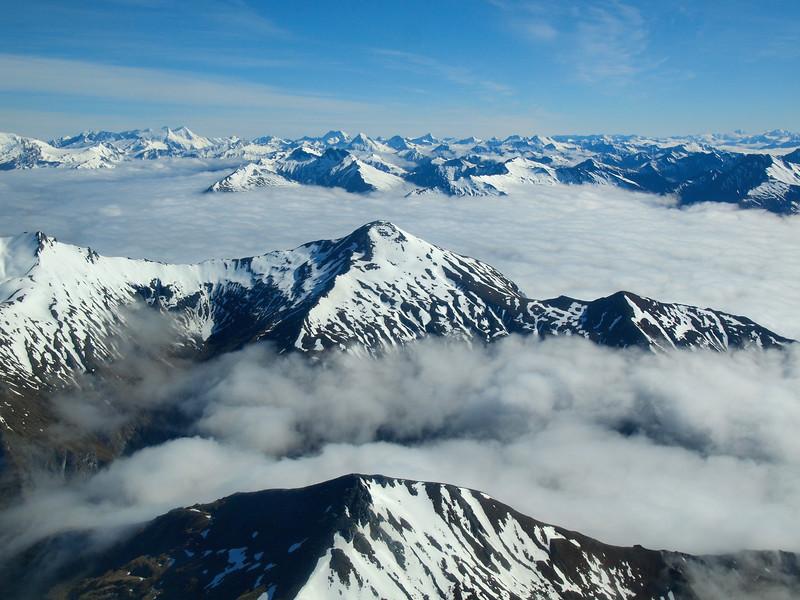 Flying over Mount Aspiring National Park in New Zealand