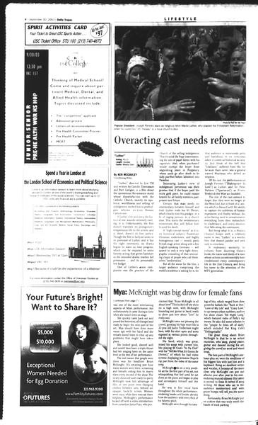 Daily Trojan, Vol. 150, No. 24, September 30, 2003