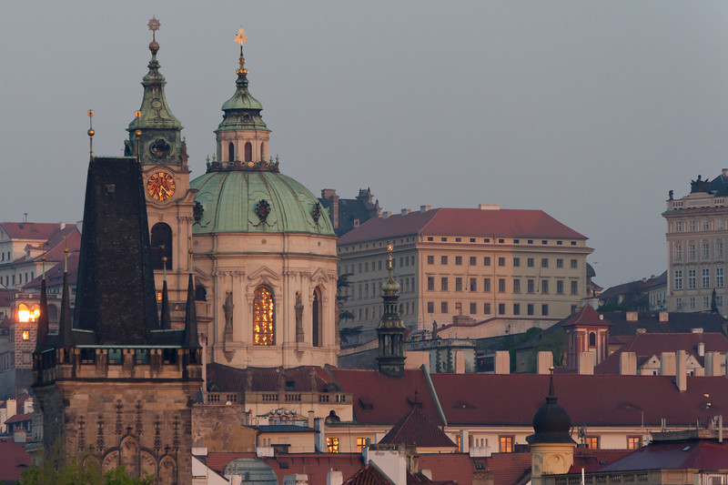 The Church Dome at Saint Francis of Assissi at dusk - Prague, Czech Republic