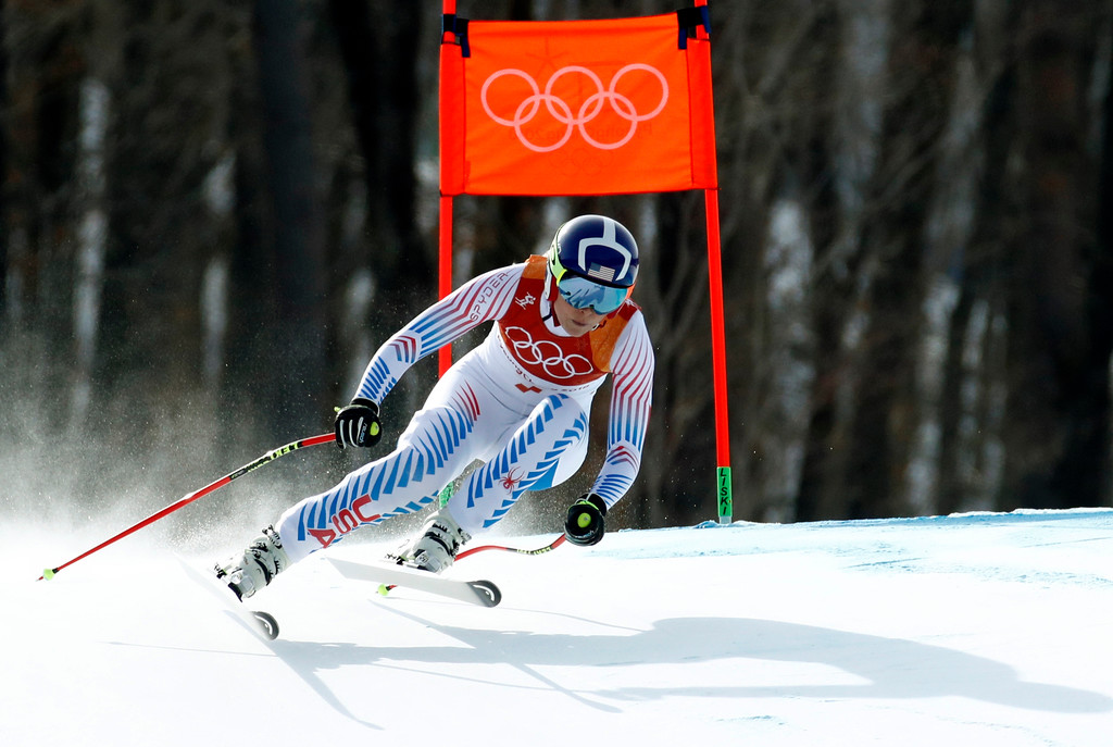 . United States\' Lindsey Vonn competes in the women\'s downhill at the 2018 Winter Olympics in Jeongseon, South Korea, Wednesday, Feb. 21, 2018. (AP Photo/Patrick Semansky)