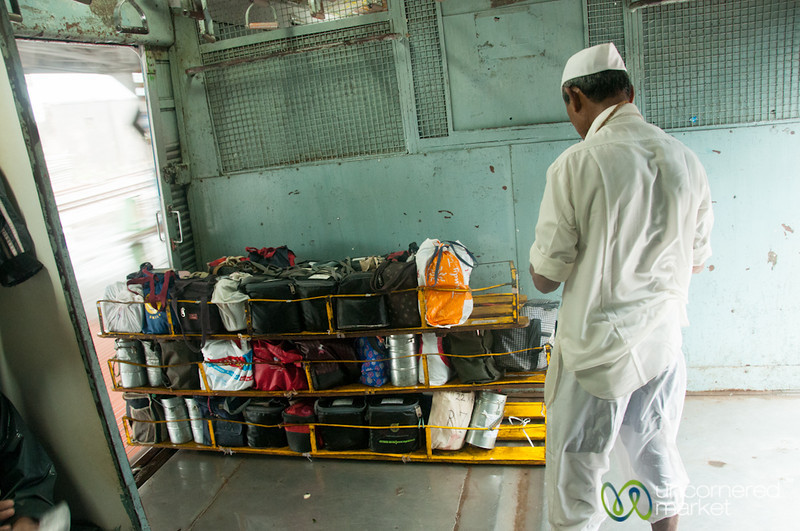 Dabbawala with Lunches on Mumbai Train - India