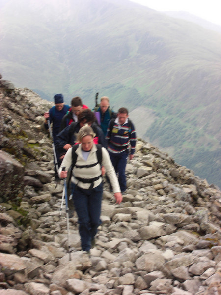 Nicci leads the assault as we drive up the zig-zags towards Ben Nevis summit plateau