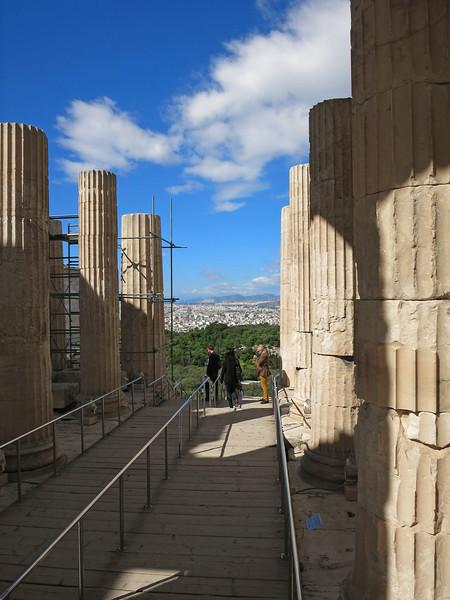 Looking west through the Propylaea to Piraeus, 7 miles away.
