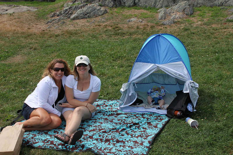 Luca in his popup sun protector tent.
