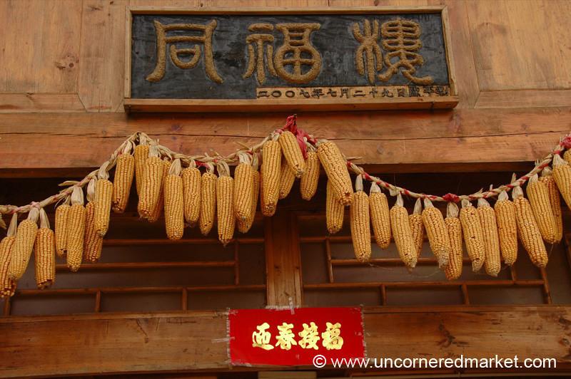 Hanging Chinese Corn - Guizhou Province, China