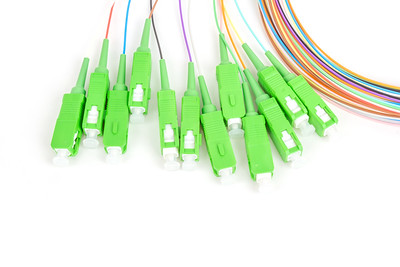 green fiber optic SC connectors