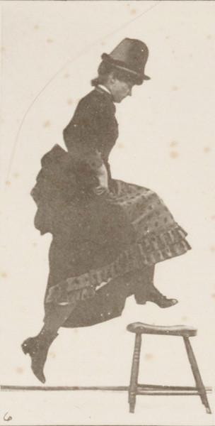 Woman jumping, running straight high jump