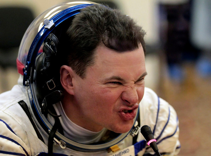 . Russian cosmonaut Roman Romanenko, a member of the next expedition to the International Space Station, speaks during the pre-launch preparations at the Baikonur cosmodrome in Kazakhstan, Wednesday, Dec. 19, 2012.  (AP Photo/Maxim Shipenkov, Pool)