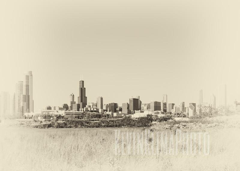 Chicago Skyline in Vintage Style
