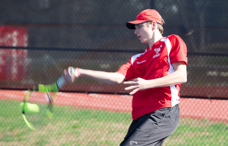 04/16/19  Wesley Bunnell | Staff  Bristol Eastern boys tennis at Berlin on Tuesday afternoon. Berlin's Jonathan Trevethan.