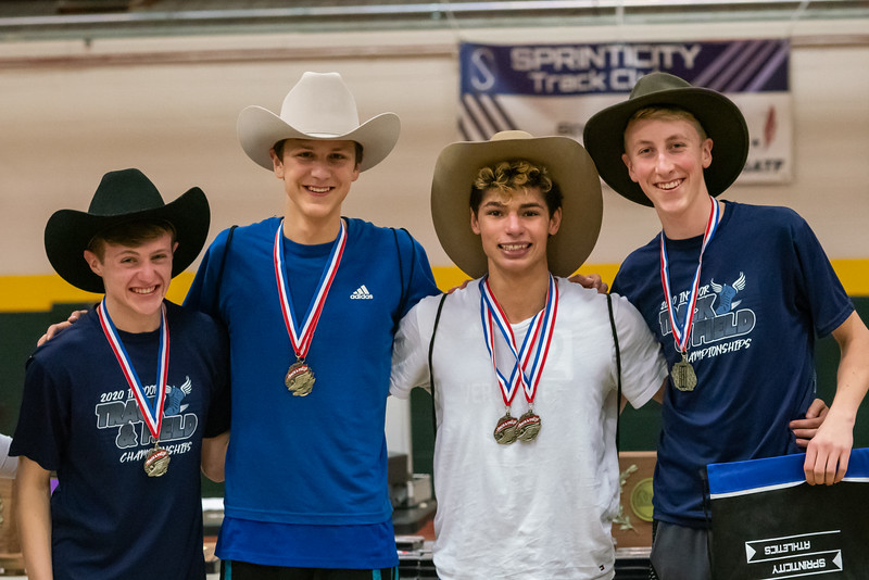 The 4x400 relay team is  recognized for their first place finish. (from left) Xander DeBlois, Ben Huston, Julio Quiles and Gabe Praamsma.  Vermont Division II Indoor Track State Championships - UVM Gutterson Field House - 2/16/2020
