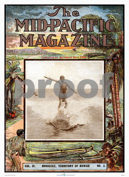 228: Poster or matted print of vintage Mid-Pacific Magazine cover with sepia photograph of young Hawaiian boy surfing. Ca. 1910. (PROOF watermark will not appear on your print)