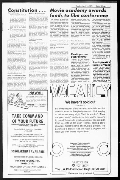 Daily Trojan, Vol. 62, No. 89, March 16, 1971