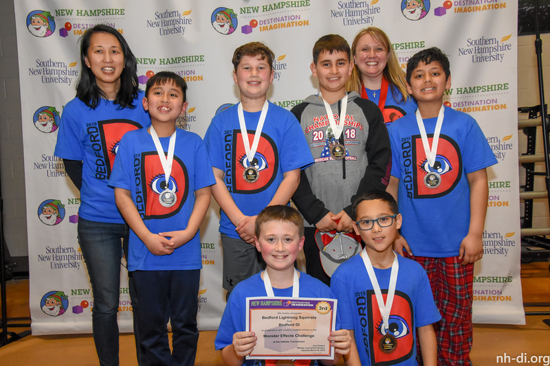 3rd place. 130-79084 ,Bedford DI, Bedford Lightning Squirrels, Bedford, NH, Engineering Challenge- Monster Effects, Elementary Level