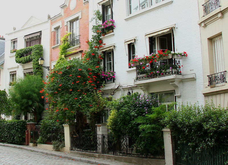 Just like Italy, Paris loves plants and wrought iron balconies.