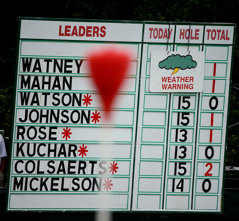 . A weather warning sign is seen on a leaderboard on the 12th hole during Round One of the 113th U.S. Open at Merion Golf Club on June 13, 2013 in Ardmore, Pennsylvania.  (Photo by Andrew Redington/Getty Images)