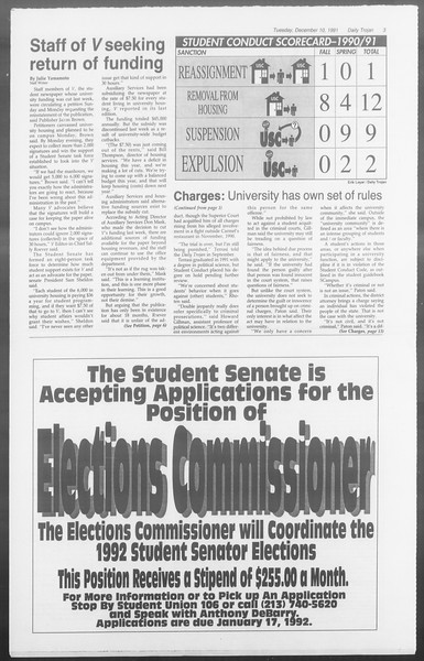 Daily Trojan, Vol. 116, No. 66, December 10, 1991