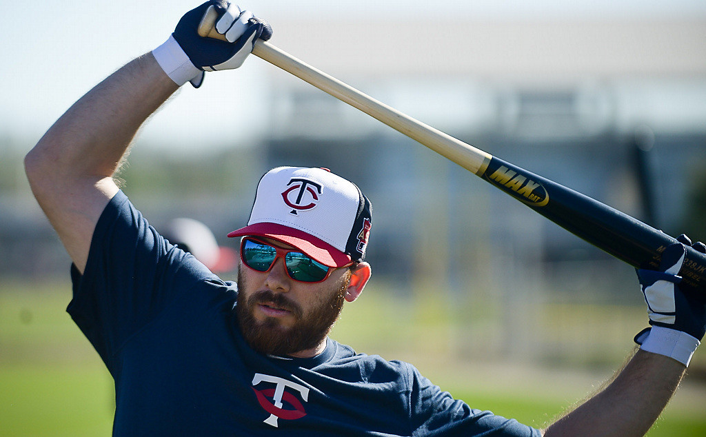 . Returning Twins outfielder Jason Kubel stretches on his first day at spring training. Kubel started his career with the Twins, then spent time in Arizona and Cleveland before coming back to the Twins. (Pioneer Press: Ben Garvin)