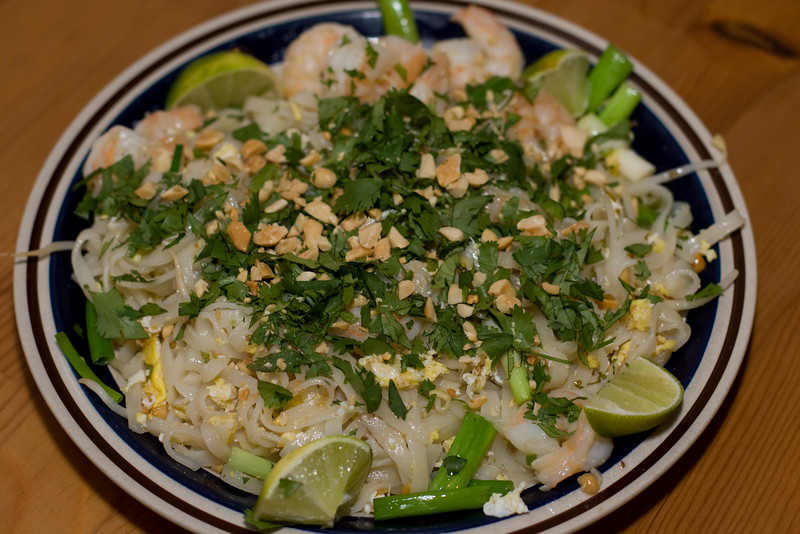 Pad Thai.  See http://isomerica.net/archives/2007/11/03/pad-thai/ for recipe.