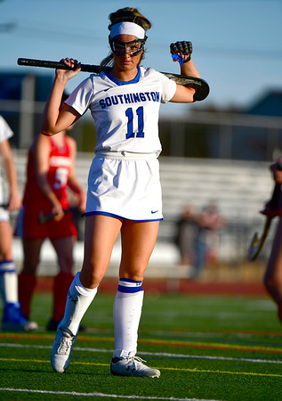 10/15/2019 Mike Orazzi | StaffrSouthington High Schools Jenna Sheehan (11) during a 2-2 tie with Conard High School in Southington on Tuesday afternoon. r