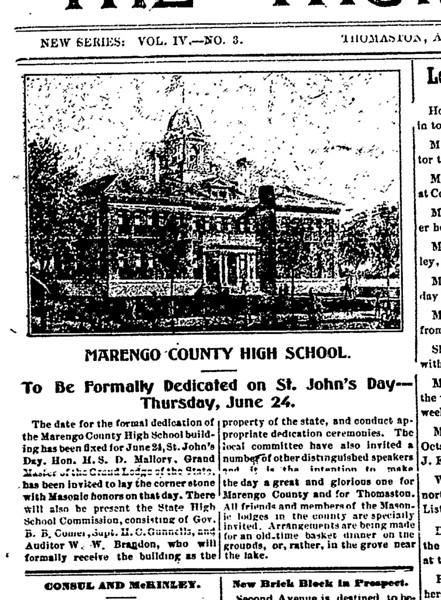MCHS to be formally dedicated on St. John's Day, Thursday, June 24, 1909