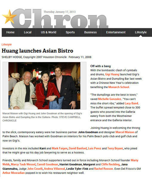 article in The Houston chronicle about maison e maison project for Gigis Asian bistro and dumpling bar.