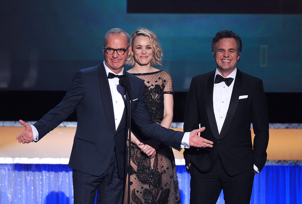 . Michael Keaton, from left, Rachel McAdams, and Mark Ruffalo introduce their film \'Spotlight\', nominated for best cast in a motion picture at the 22nd annual Screen Actors Guild Awards at the Shrine Auditorium & Expo Hall on Saturday, Jan. 30, 2016, in Los Angeles. (Photo by Vince Bucci/Invision/AP)