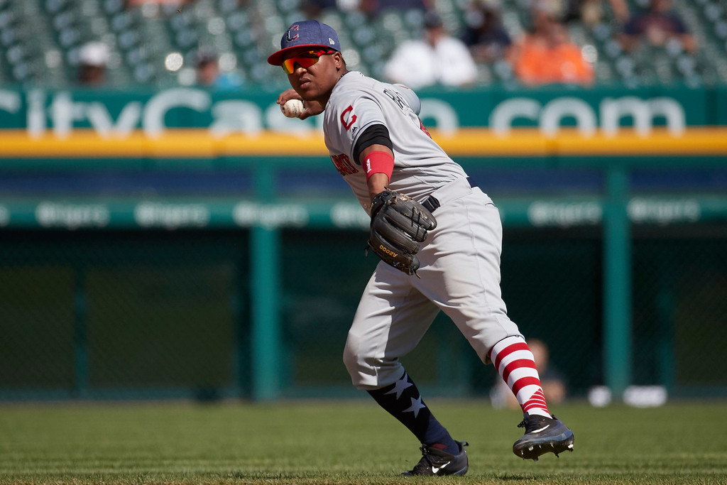 . Cleveland Indians third baseman Jose Ramirez makes a throw to first to get Detroit Tigers Victor Martinez, not pictured out during the eighth inning of a baseball game in Detroit, Sunday, July 2, 2017. (AP Photo/Rick Osentoski)