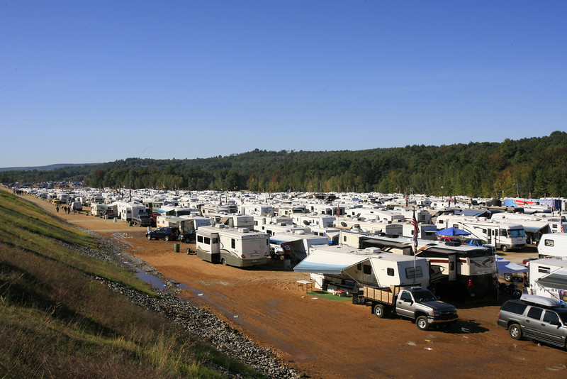 One of several camping areas at the racetrack looking south